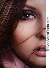 portrait, de, joli, jeune femme, dans, les, studio