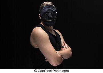 portrait, de, les, homme, dans, fait main, masque
