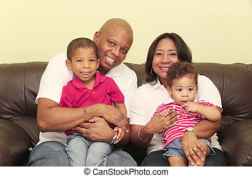 portrait, de, magnifique, africaine, family., foyer, sur, les, mère, et, les