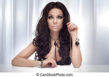 portrait, de, magnifique, brunette, lady.
