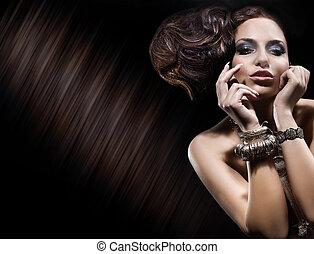 portrait, de, mignon, brunette, dame, posing.