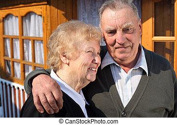 portrait, de, personnes âgées accouplent