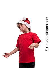 portrait, de, petit garçon, dans, santa, cla