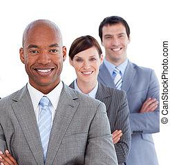 portrait, de, positif, equipe affaires