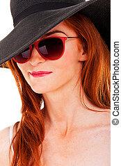 portrait, de, séduisant, élégant, femme, dans, chapeau noir