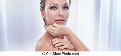 portrait, de, séduisant, beauté, à, surprenant, makeup.