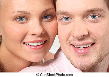 portrait, de, séduisant, couple, faces, closeup