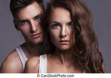 portrait, de, séduisant, couple