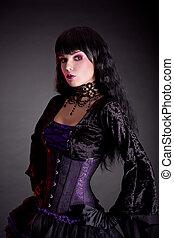 portrait, de, séduisant, gothique, girl, dans, élégant, moyen-âge, déguisement