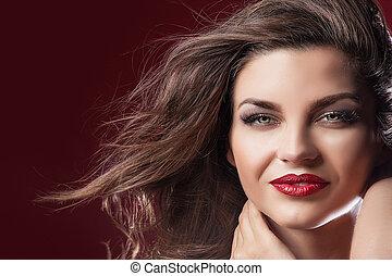 portrait, de, sexy, brunette, lady.