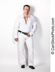 portrait, de, sexy, homme, dans, blanc, complet, contre, fond blanc
