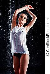 portrait, de, sexy, jeune femme, dans, eau, studio