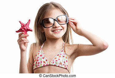 portrait, de, sourire, brunette, girl, poser, à, rouges, etoile mer