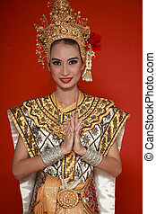 portrait, de, thaï, jeune dame, dans, une, ancien,...