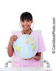 portrait, de, une, ambitieux, docteur, examiner, a, globe...
