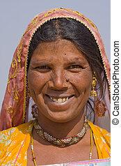 portrait, de, une, indien, femme