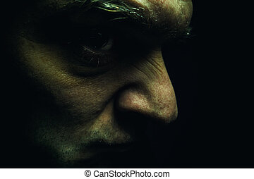 portrait, de, une, laid, face homme