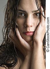 portrait, de, woman.