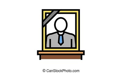 portrait dead human animated color icon. portrait dead human sign. isolated on white background