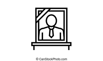 portrait dead human animated black icon. portrait dead human sign. isolated on white background