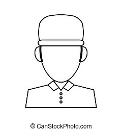 portrait delivery pizza boy outline