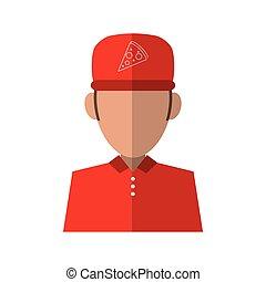 portrait delivery pizza boy red uniform cap