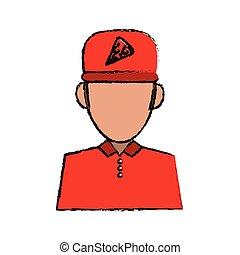portrait delivery pizza boy sketch