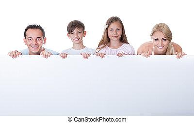 portrait, derrière, planche, famille, vide
