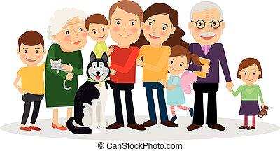 portrait, dessin animé, famille