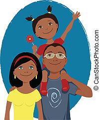 portrait, dessin animé, famille, heureux