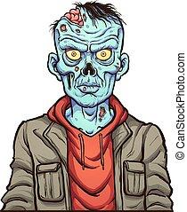 portrait, dessin animé, zombi