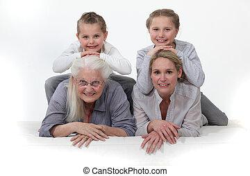 portrait, différent, générations