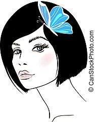 portrait., donna, disegno, bellezza, element.