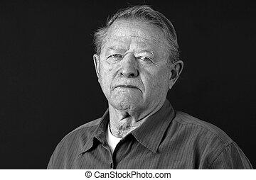 portrait, dramatique, vieil homme, triste