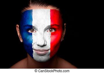 portrait, drapeau, femme, france