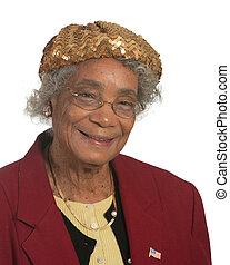 Portrait elderly lady. Isolated against white background.