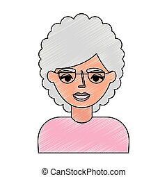portrait elderly woman grandmother with glasses