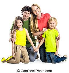 portrait, enfants, famille