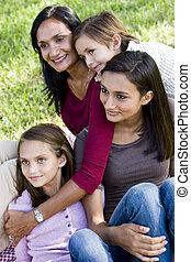 portrait, enfants, trois, famille, mère