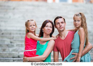portrait, europe., vacances, famille, four.