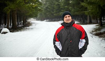 portrait, extérieur, hiver, homme, jeune