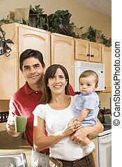 portrait., famille, cuisine