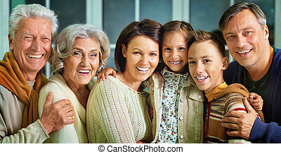 portrait, famille, grand