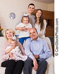 portrait, famille, grand, multigenerational