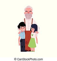portrait famille, grand-père, étreindre, petits-enfants