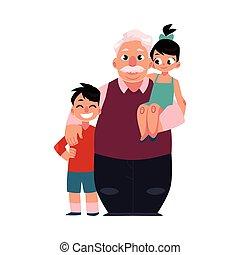 portrait famille, grand-père, papy, debout, à, petits-enfants, heureux, et, sourire