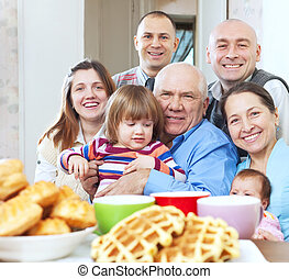 portrait, famille, heureux