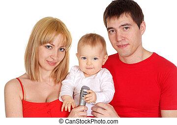 portrait, famille, jeune