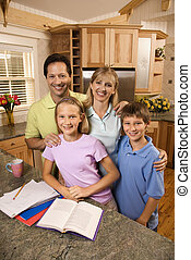 portrait, famille, kitchen.