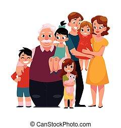 portrait famille, -, parents, enfants, grand-père, petits-enfants, étreindre
